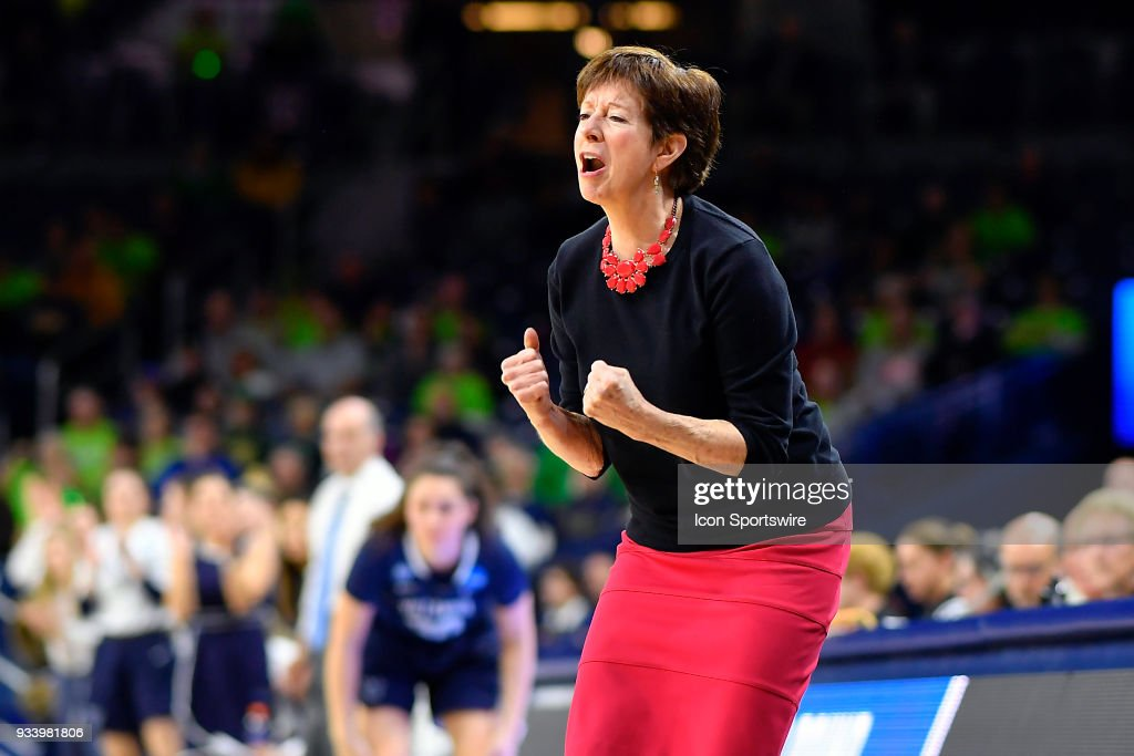 Notre Dame Fighting Irish head coach Muffet McGraw reacts to a call from the official during the second round of the Division I Women's Championship game against the Villanova Wildcats on March 18, 2018 in South Bend, Indiana.