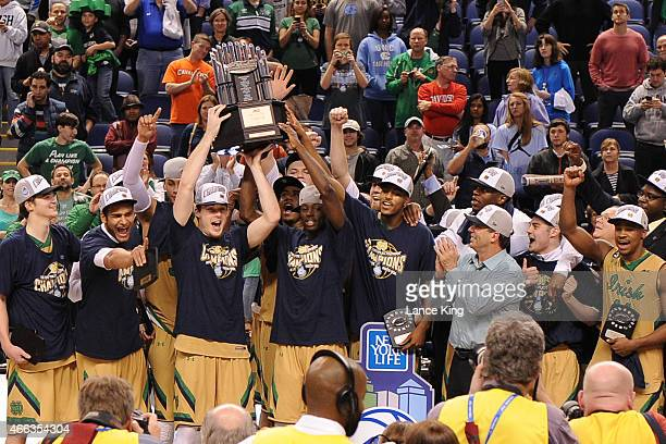 Notre Dame Fighting Irish players celebrate following their victory against the North Carolina Tar Heels during the finals of the 2015 Men's ACC...