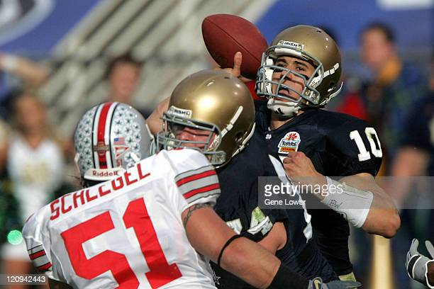 Notre Dame Fighting Irish quarterback Brady Quinn unleashes a pass during the Fiesta Bowl game against the Ohio State Buckeyes at Sun Devil Stadium...