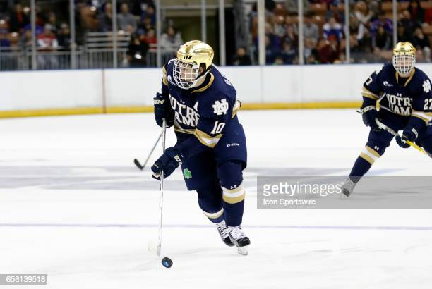 Notre Dame Fighting Irish right wing Anders Bjork assisted on every Irish goal during the NCAA Northeast Regional final between the UMass Lowell...