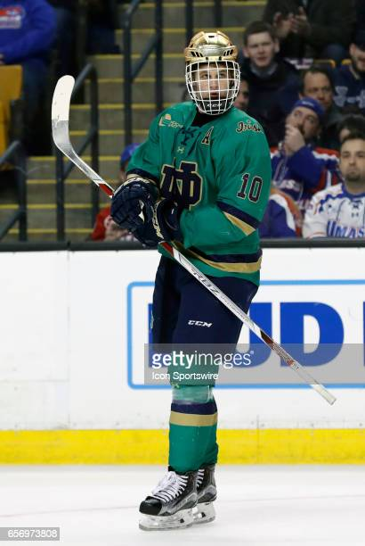 Notre Dame Fighting Irish right wing Anders Bjork skates on for a shift during a Hockey East semifinal between the UMass Lowell River Hawks and the...