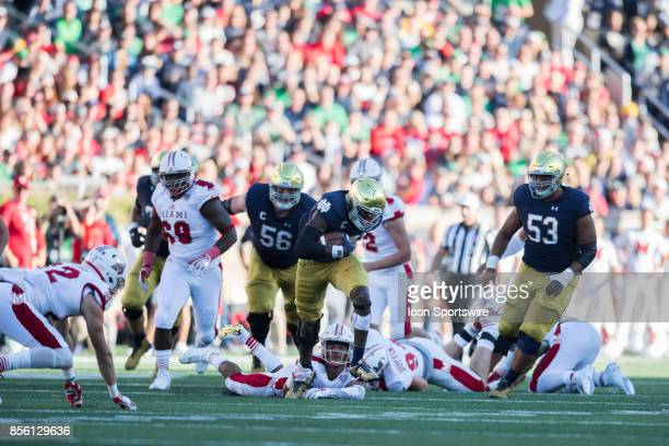 Notre Dame Fighting Irish running back Josh Adams breaks free for a 59 yard touchdown run during the college football game between the Notre Dame...