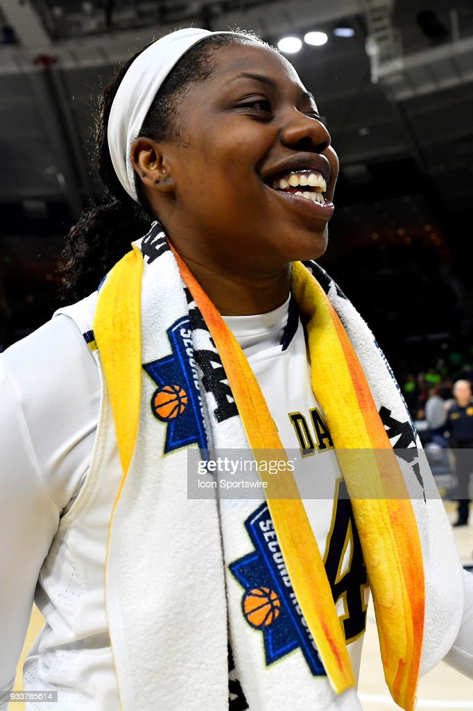 Notre Dame Fighting Irish's Arike Ogunbowale (24) leaves the court after defeating the Villanova Wildcats during the second round of the Division I Women's Championship on March 18, 2018 in South Bend, Indiana.