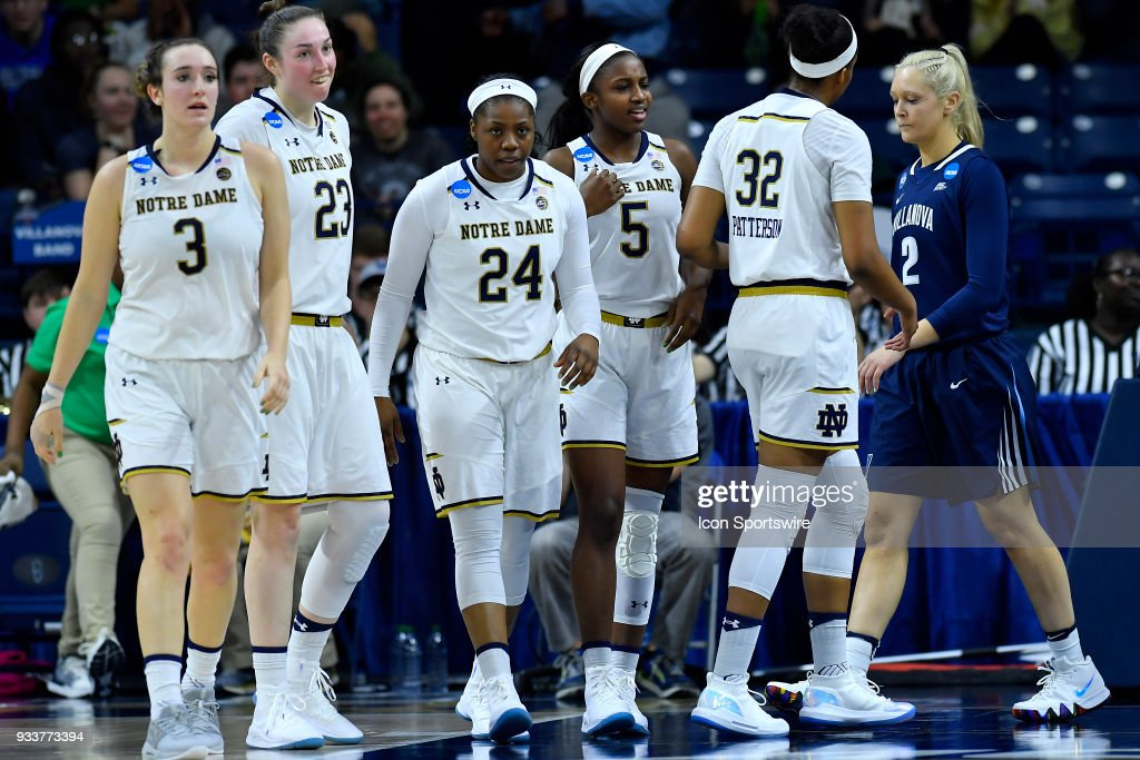 Notre Dame Fighting Irish's Arike Ogunbowale (24) reacts after being fouled by the Villanova Wildcats during the second round of the Division I Women's Championship on March 18, 2018 in South Bend, Indiana.