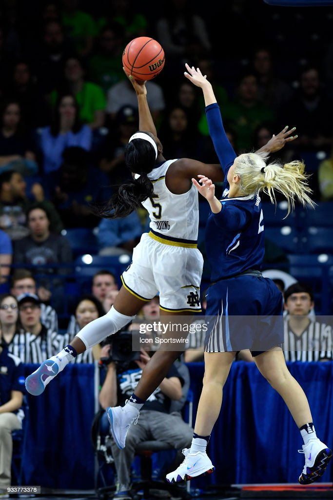 Notre Dame Fighting Irish's Jackie Young (5) shoots over Villanova Wildcats' Alex Louin (2) during the second round of the Division I Women's Championship on March 18, 2018 in South Bend, Indiana.