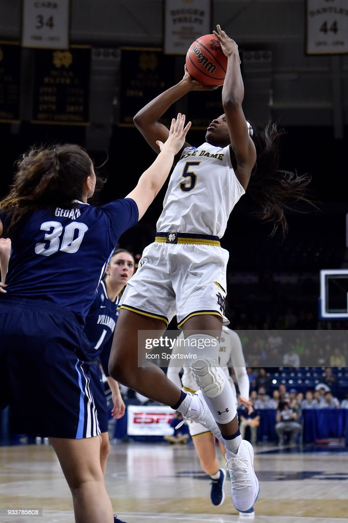 Notre Dame Fighting Irish's Jackie Young (5) shoots over Villanova Wildcats' Mary Gedaka (30) during the second round of the Division I Women's Championship on March 18, 2018 in South Bend, Indiana.