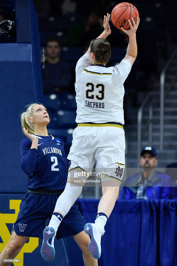Notre Dame Fighting Irish's Jessica Shepard (23) shoots over Villanova Wildcats' Alex Louin (2) during the second round of the Division I Women's Championship on March 18, 2018 in South Bend, Indiana.