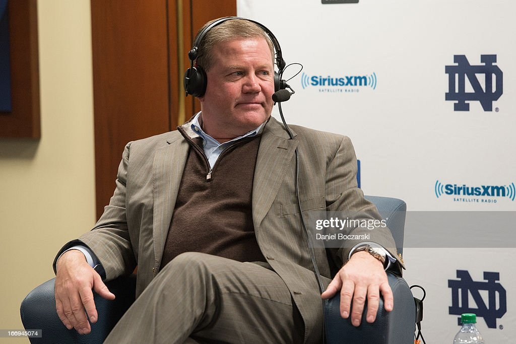 Notre Dame football coach Brian Kelly attends SiriusXM's Notre Dame Town Hall with Brian Kelly and Tim Brown, live from Notre Dame Stadium on April 18, 2013 in South Bend, Indiana.