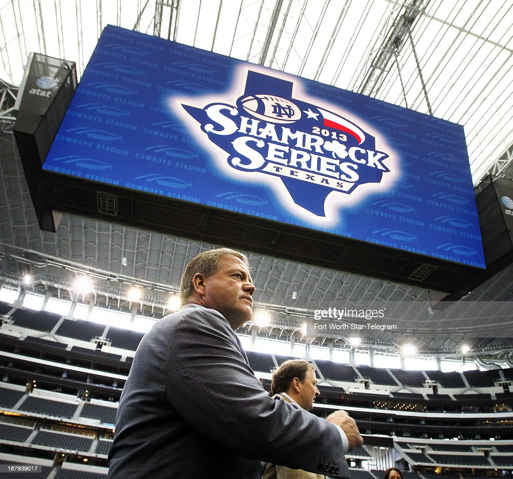 Notre Dame football coach Brian Kelly on Thursday, May 2, 2013, at Cowboys Stadium in Arlington, Texas. Notre Dame is scheduled to play Arizona State in the $1.2 billion showplace of the Dallas Cowboys in the latest of the so-called 'Shamrock Series' — home games away from storied Notre Dame Stadium.