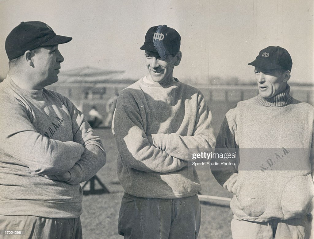 Notre Dame football coach Joe Boland, Notre Dame football head coach Elmer Layden and Notre Dame football coach Chet Grant together on April 7, 1937.