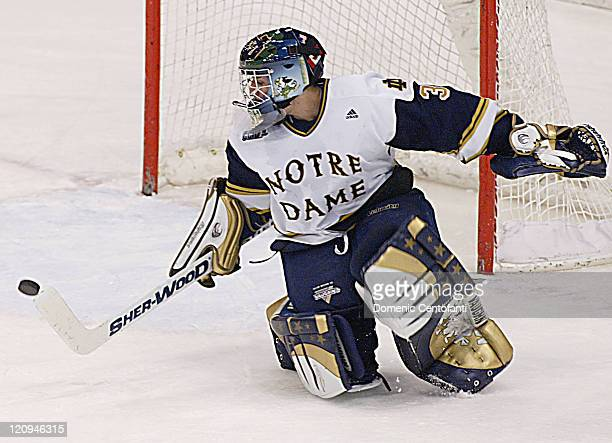 Notre Dame freshman goalie David Brown stops a hard shot during the second game of two consecutive nights in East Lansing The two teams tied 33 after...