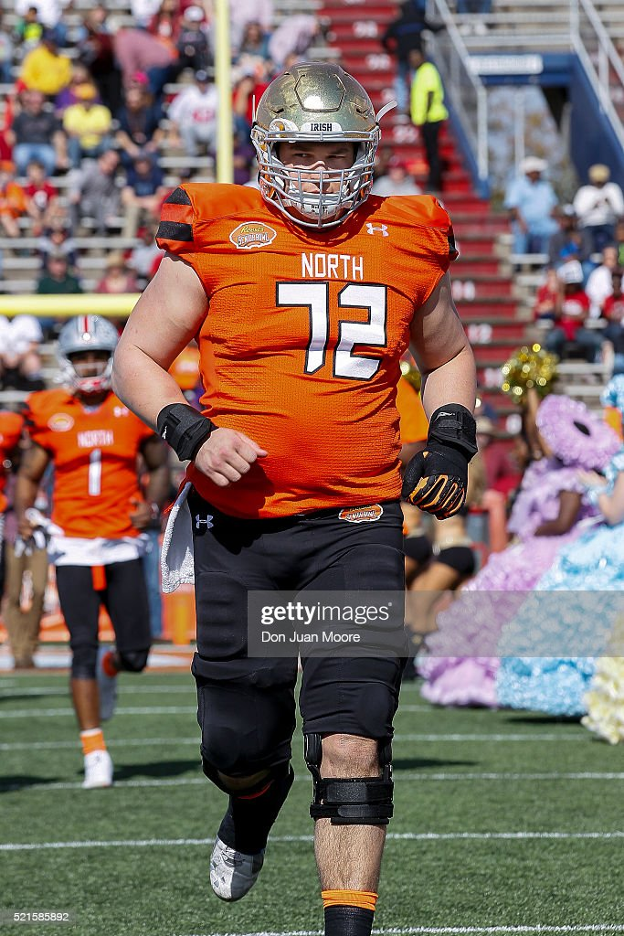 Notre Dame Guard Nick Martin #72 of the North Team during the 2016 Resse's Senior Bowl at Ladd-Peebles Stadium on January 30, 2016 in Mobile, Alabama. The South defeated the North 27-16.