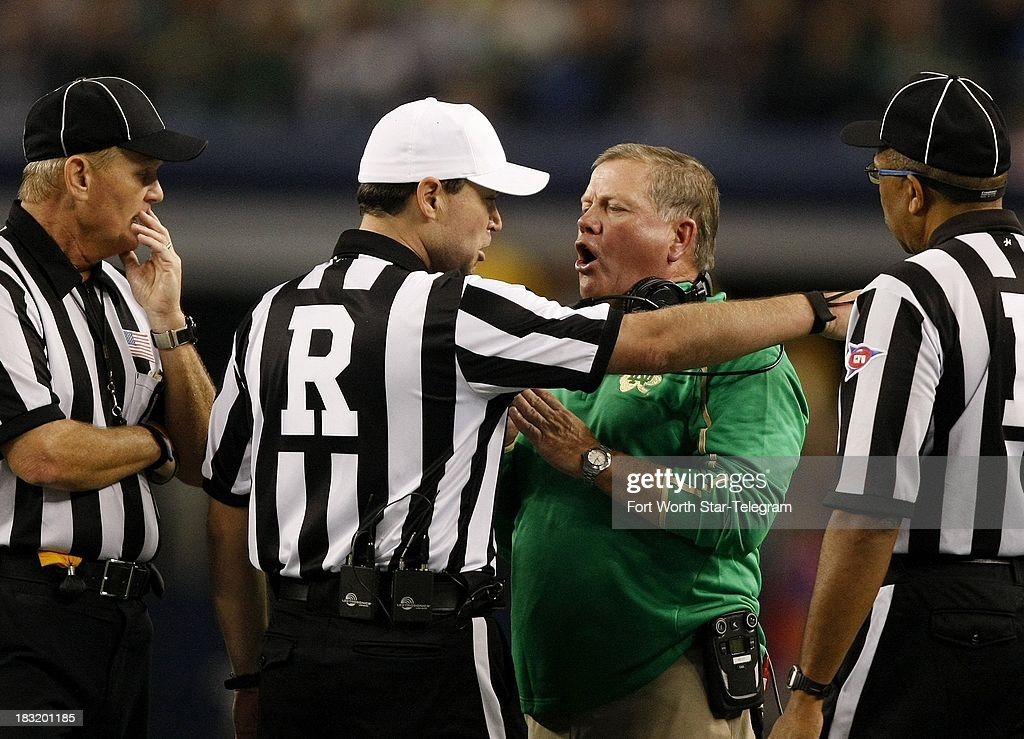 Notre Dame head coach Brian Kelly argues with referees during a college football game against Arizona State at AT&T Stadium in Arlington, Texas, Saturday, October 5, 2013. Notre Dame beat ASU, 37-34.