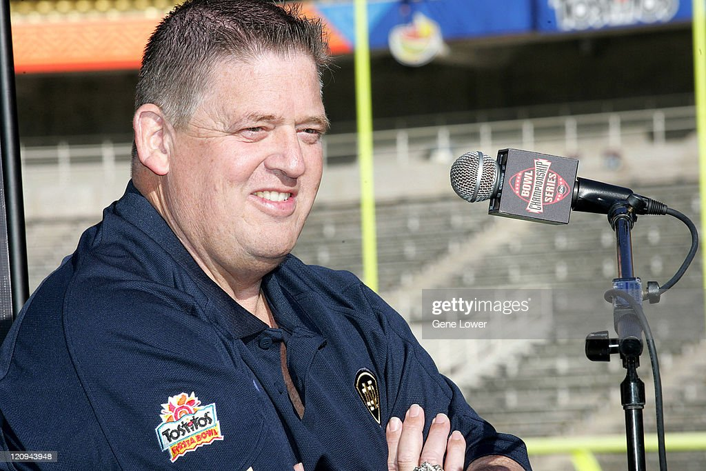 Notre Dame head coach <a gi-track='captionPersonalityLinkClicked' href=/galleries/search?phrase=Charlie+Weis&family=editorial&specificpeople=631229 ng-click='$event.stopPropagation()'>Charlie Weis</a> answers questions during Fiesta Bowl Media Day at Sun Devil Stadium in Tempe, AZ on November 30, 2005. The Irish face off against the Ohio State Buckeyes on Jan. 2, 2005.