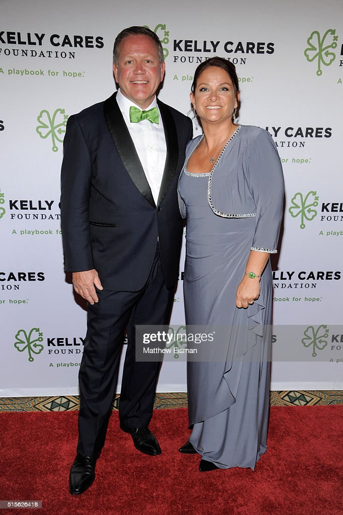 Notre Dame Head Football Coach Brian Kelly (L) and Paqui Kelly attend the Kelly Cares Foundation 2016 Irish Eyes Gala at The Pierre Hotel on March 14, 2016 in New York City.