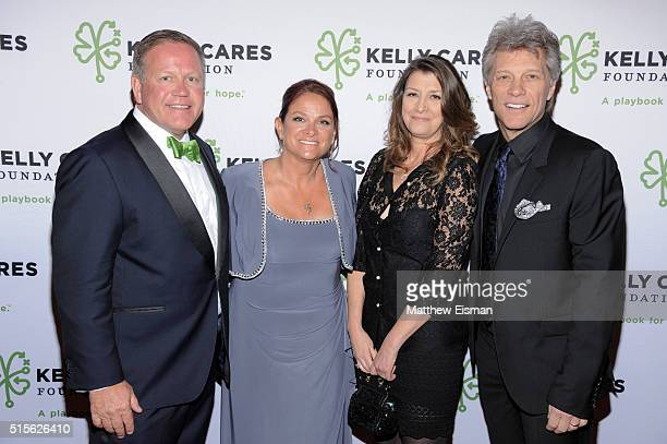 Notre Dame Head Football Coach Brian Kelly Paqui Kelly Dorothea Hurley and Jon Bon Jovi attend the Kelly Cares Foundation 2016 Irish Eyes Gala at The...