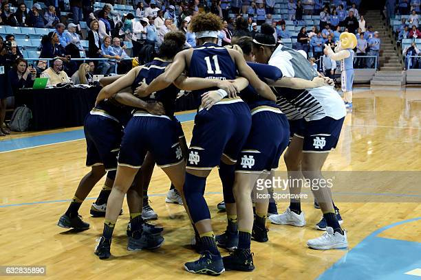 Notre Dame players huddle before the game The University of North Carolina Tar Heels hosted the University of Notre Dame Fighting Irish on January 22...