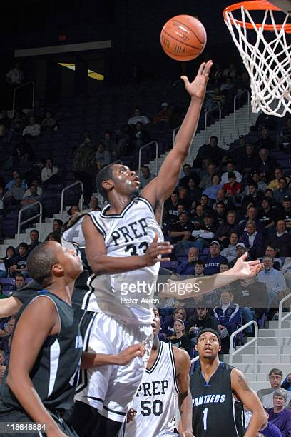 Notre Dame Prep Deonte Roberts drives in for the score against the IMG Academy during the AllAmerican Shootout at Bramlage Coliseum in Manhattan...