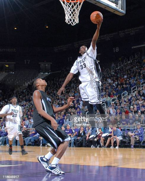 Notre Dame Prep guard Deonte Roberts drives in for the score against the IMG Academy during the AllAmerican Shootout at Bramlage Coliseum in...