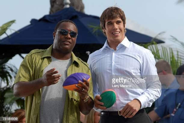 Notre Dame quarterback Brady Quinn and former quarterback Rodney Peete attend a taping of The Best Damn Sports Show Period at The Surfcomber Hotel on...