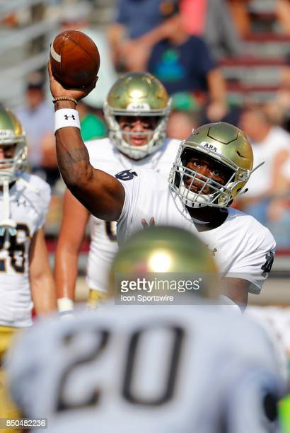 Notre Dame quarterback Brandon Wimbush eyes his target before a game between the Boston College Eagles and the Notre Dame Fighting Irish on September...