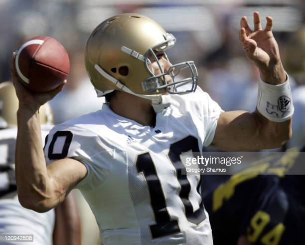 Notre Dame's Brady Quinn passes during a game against the University of Michigan at Michigan Stadium in Ann Arbor Michigan on September 10 2005 Notre...