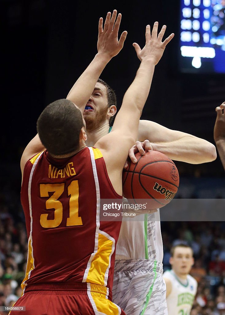 Notre Dame's Garrick Sherman runs into Iowa State's Georges Niang (31) in the first half during an NCAA Tournament second-round game at University of Dayton Arena in Dayton, Ohio, on Friday, March 22, 2013.