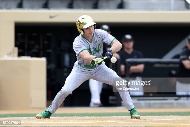 Notre Dame's Kyle Fiala bunts in the first inning The Wake Forest Demon Deacons hosted the University of Notre Dame Fighting Irish on April 15 at...