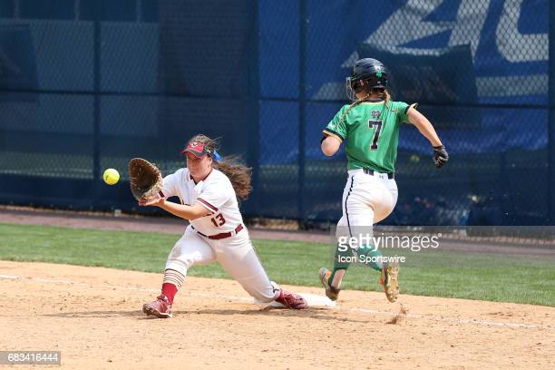 Notre Dame's Madison Heide beats the throw to Boston College's Allyson Moore for a single The Boston College Eagles played the University of Notre...