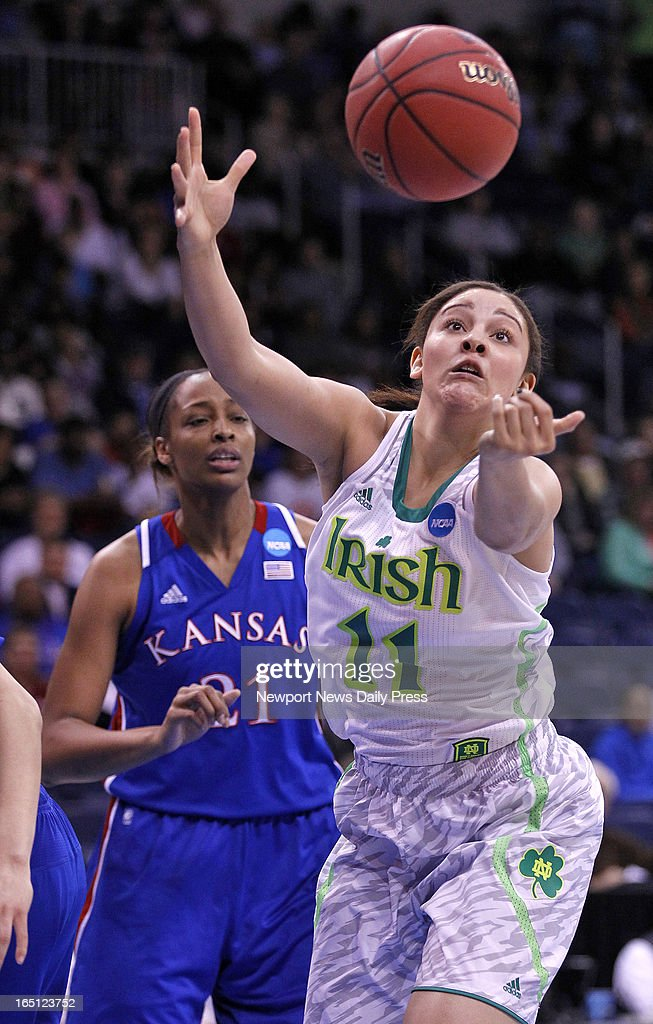 Notre Dame's Natalie Achonwa, right, grabs for the ball during Sunday's NCAA women's basketball regional semifinal on March 31, 2013, at the Ted Constant Center in Norfolk, Virginia.