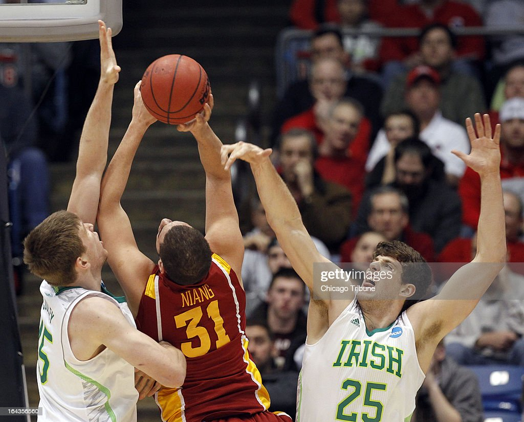 Notre Dame's Tom Knight (25) defends Iowa State's Georges Niang (31) in the first half during an NCAA Tournament second-round game at University of Dayton Arena in Dayton, Ohio, on Friday, March 22, 2013.