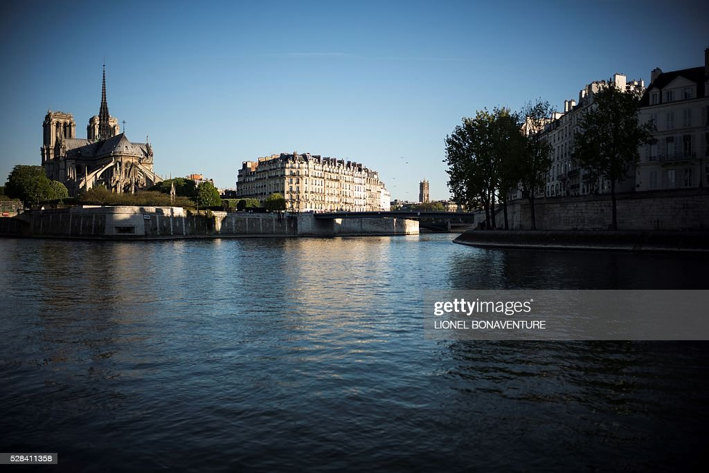 Notre-Dame de Paris is pictured from a bank of the Seine river, on May 5, 2016 in Paris. / AFP / LIONEL