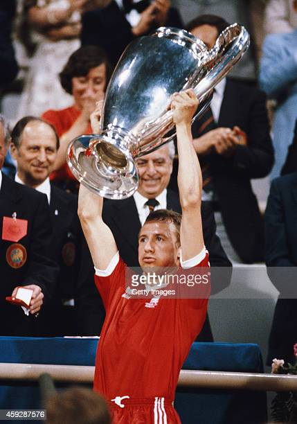 Nottingham Forest captain John McGovern lifts the trophy after the 1979 European Cup Final between Nottingham Forest and Malmo at the Olympic Stadium...