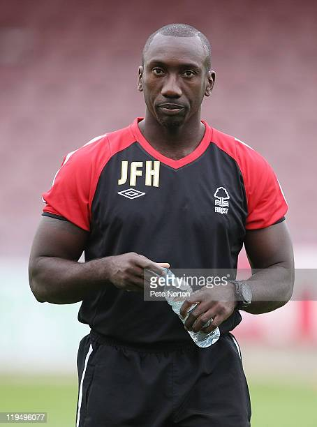 Nottingham Forest coach Jimmy Floyd Hasselbaink prior to the PreSeason Friendly match between Northampton Town and Nottingham Forest at Sixfields...