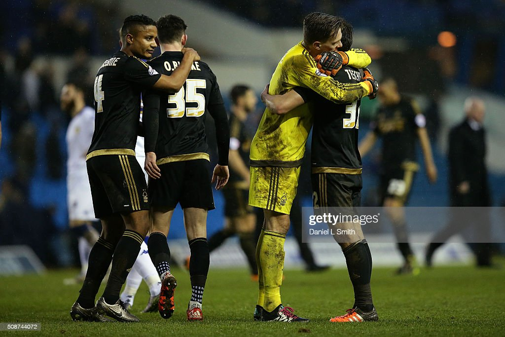 Nottingham Forest FC celebrate winning 1-0 against Leeds United FC in the Sky Bet Championship match between Leeds United and Nottingham Forest on February 6, 2016 in Leeds, United Kingdom.