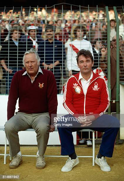 Nottingham Forest manager Brian Clough and assistant Peter Taylor look on before the 1980 European Cup Final between Hamburg SV and Nottingham Forest...