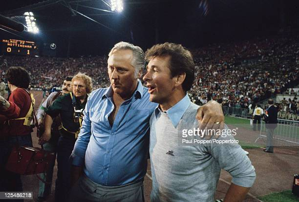 Nottingham Forest manager Brian Clough and his assistant Peter Taylor after their success in the European Cup final at the Olympiastadion Munich 30th...