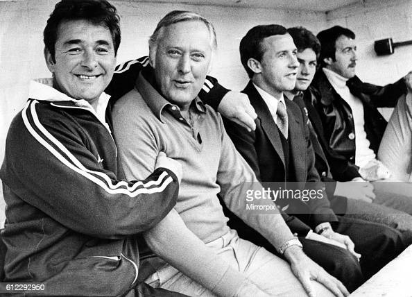Nottingham Forest manager Brian clough hugs assistance manager Peter Taylor with Frank Clark seated at the far right of the dugout 3 March 1979