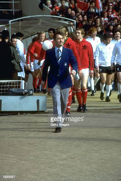 Nottingham Forest Manager Brian Clough leads out his team before the League Cup final against Liverpool at Wembley Stadium in London Nottingham...