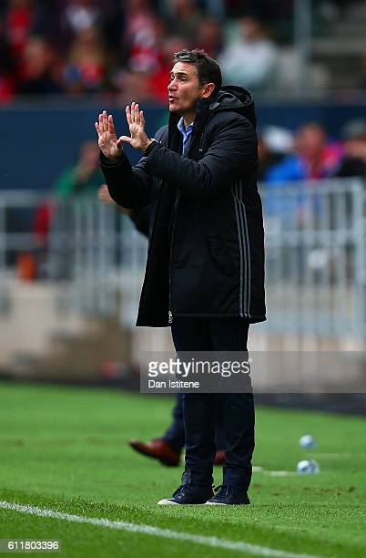Nottingham Forest manager Philippe Montanier issues instructions to his player during the Sky Bet Championship match between Bristol City and...