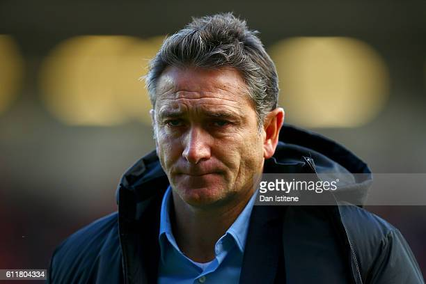 Nottingham Forest manager Philippe Montanier walks off the pitch after the Sky Bet Championship match between Bristol City and Nottingham Forest at...