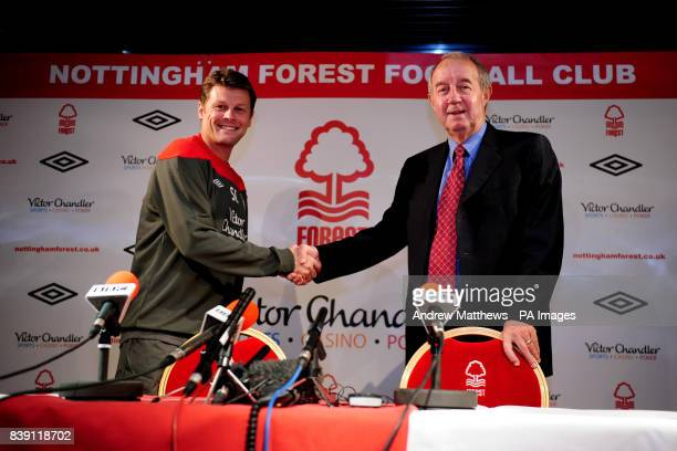 Nottingham Forest manager Steve Cotterill and Chairman Frank Clark during the press conference at the City Ground Nottingham
