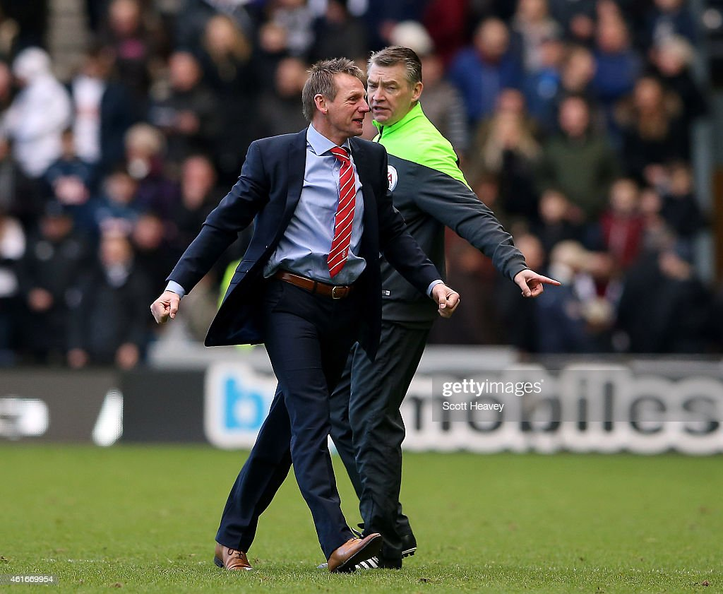 Nottingham Forest manager Stuart Pearce celebrates after their second goal during the Sky Bet Championship Match between Derby County and Nottingham Forest at iPro Stadium on January 17, 2015 in Derby, England.