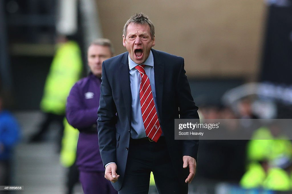 Nottingham Forest manager Stuart Pearce during the Sky Bet Championship Match between Derby County and Nottingham Forest at iPro Stadium on January 17, 2015 in Derby, England.