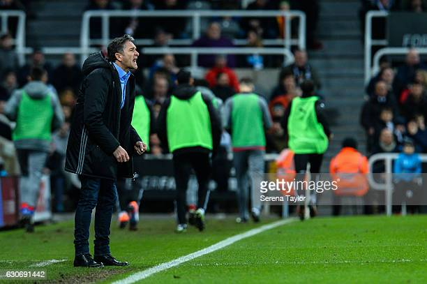 Nottingham Forest Mangaer Philippe Montanier shouts from the sidelines during the Sky Bet Championship match between Newcastle United and Nottingham...