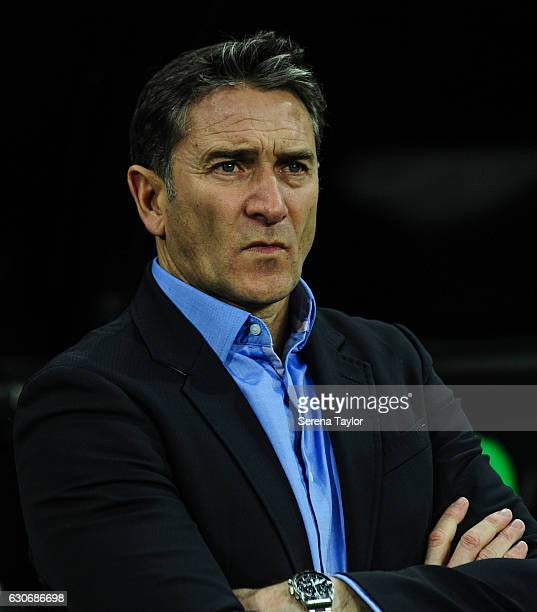 Nottingham Forest Mangaer Philippe Montanier stands in the dugouts during the Sky Bet Championship match between Newcastle United and Nottingham...