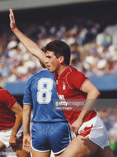 Nottingham Forest player Neil Webb celebrates a goal during the 62 defeat of Chelsea at Stamford Bridge on September 20th 1986 in London England