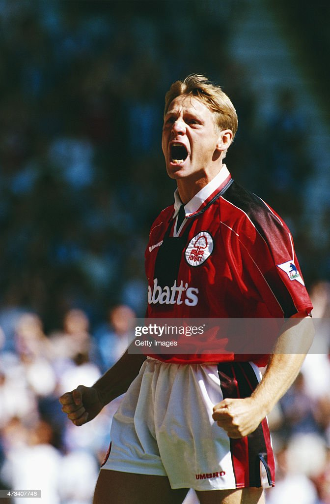 Nottingham Forest player Stuart Pearce reacts during a Premier League match between Coventry City and Nottingham Forest at Highfield Road on August 17, 1996 in Coventry, England.