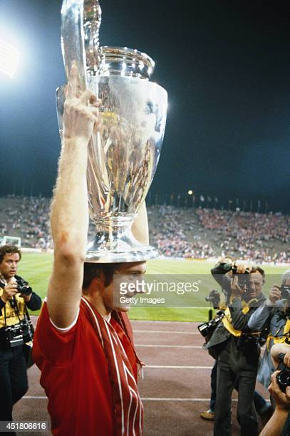 Nottingham Forest player Trevor Francis holds the trophy after the 1979 European Cup Final between Malmo and Nottingham Forest at the Olympic Stadium...