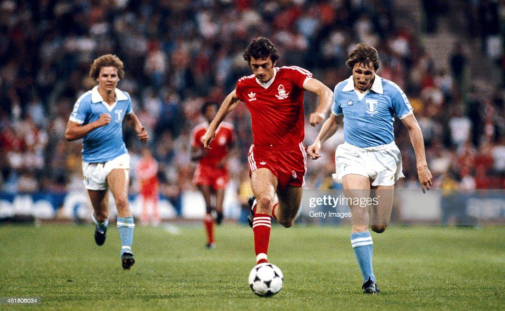 Nottingham Forest player Trevor Francis races through the Malmo defence during the 1979 European Cup Final between Malmo and Nottingham Forest at the...